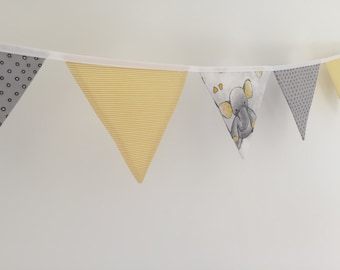 Elephant/Stripe/Spot Fabric Bunting for Nursery/Bedroom