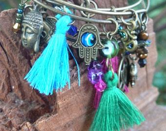 zen bracelets, Boho bangle bracelet SET 3 festivals yoga bracelet tassel charm bracelet spiritual tribal hippie festival gypsy