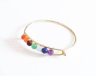 adjustable Bangle with various gems