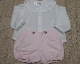Plumeti cotton blouse with ruffle on neck, handmade