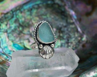 Sea Potion Ring   Aqua Blue Sea Glass Ring   Sterling Silver Ring Size 8   Mermaid Jewelry   Seashell Ring   Mermaid Ring   Beach Glass Ring