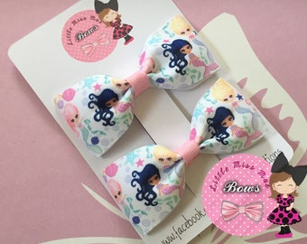 Small mermaid hair bows