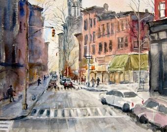 New York City Print Of Original Watercolor Painting, city street scene, Carroll Gardens, Brooklyn urban landscape watercolor art, cityscape.