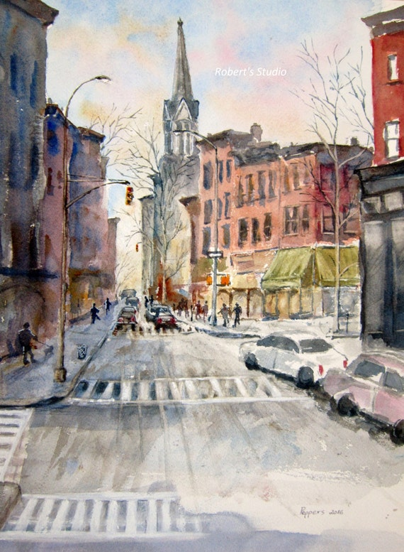 New York City Print Of Original Watercolor Painting City