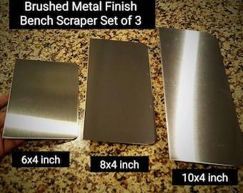 Stainless Steel Brushed Metal Finish Bench Scraper Set of Three Plain