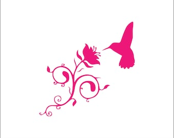 Hummingbird flower decal, download, unique animal svg, dxf, eps, ai, png, instant download, girly gift, bird, tribal, rose, cute svg file