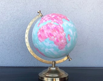 Painted World Globe | Perfect for offices, desks, classrooms, classrooms, bookshelves, gifts, etc // Jessica Catherine Designs