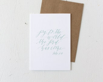 Card with Envelope: Joy to the World, Calligraphy, Mint