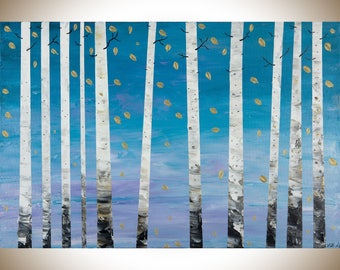 Birch tree painting Silver birch wall art wall decor painting on canvas blue purple white original birch painting by qiqigallery