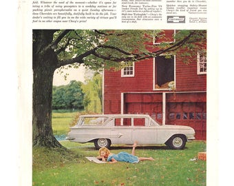 1960 Chevrolet Vintage Ad, 1960 Kingswood Station Wagon, Advertising Art, 1960's Chevy, Red Barn, Retro Car Ad, Great for Framing or Collage