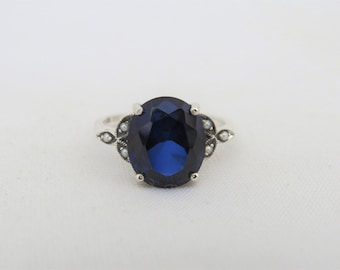 Vintage Sterling Silver Blue Sapphire & Seed Pearl Ring Size 8