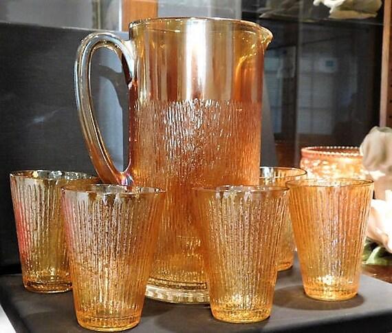 Antique Carnival Glass TREE BARK Pitcher Tumblers Set