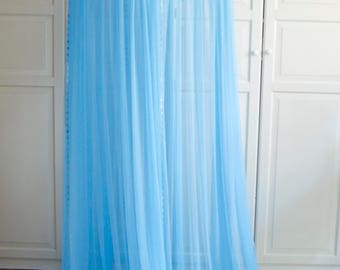 Light Blue Baldachin with colored pompoms decor -  Play Canopy, Crib Canopy, Kids canopy, Nursery canopy, Bed canopy, Play room canopy