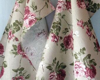 Linen Cotton Dish Towels Rose Flowers - Tea Towels set of 2