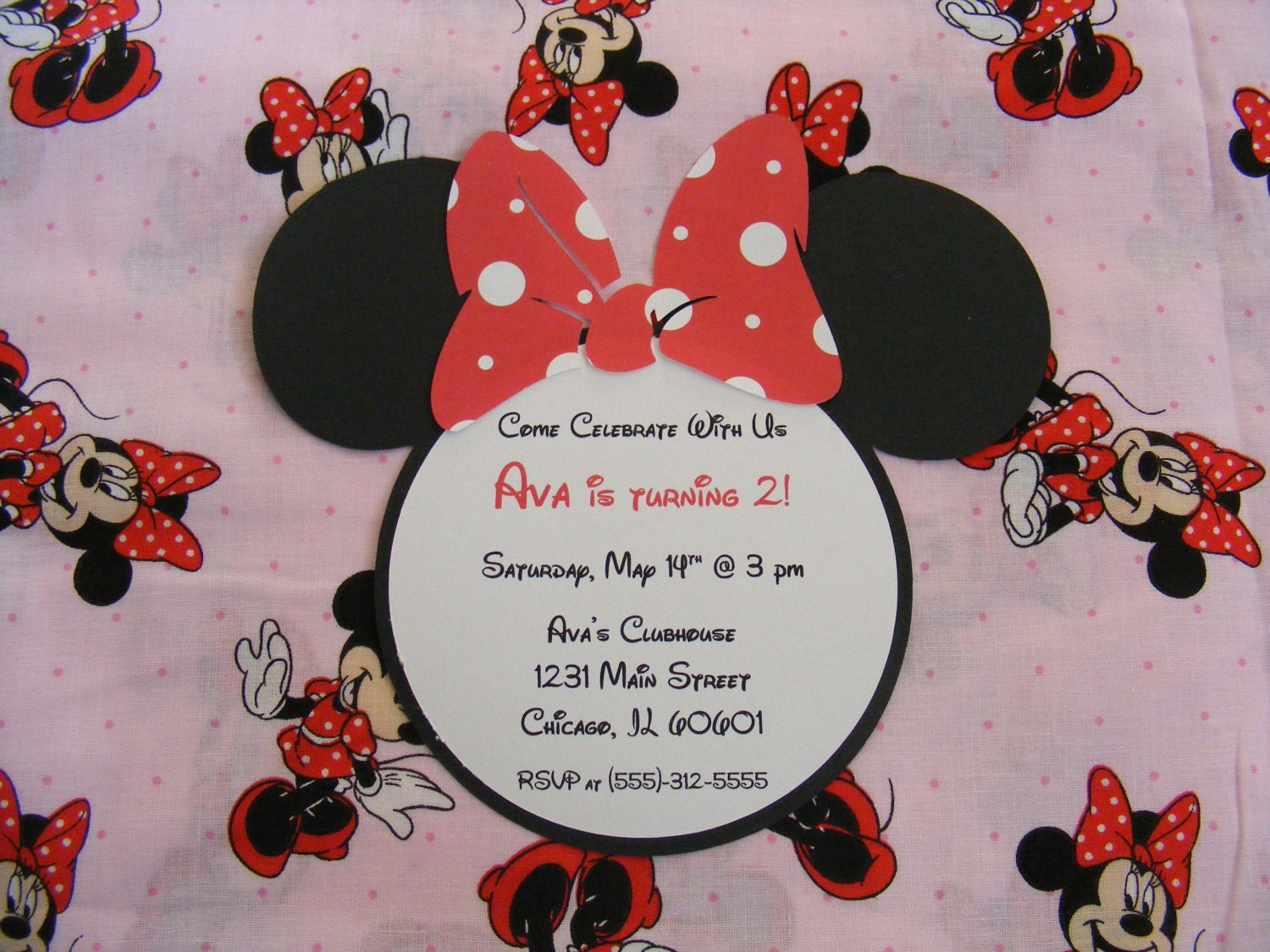 Handmade Minnie Mouse Invitations Minnie Birthday Party