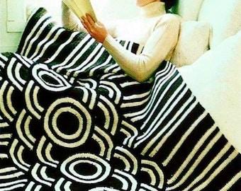 Mod Galaxy Afghan Vintage Crochet Pattern Download