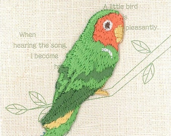 Rosy-faced Lovebird, Bird Patch, Embroidered Iron On Patch, Japanese Colorful Iron on Applique, Made Japan, Kawaii Embroidery Applique, W103