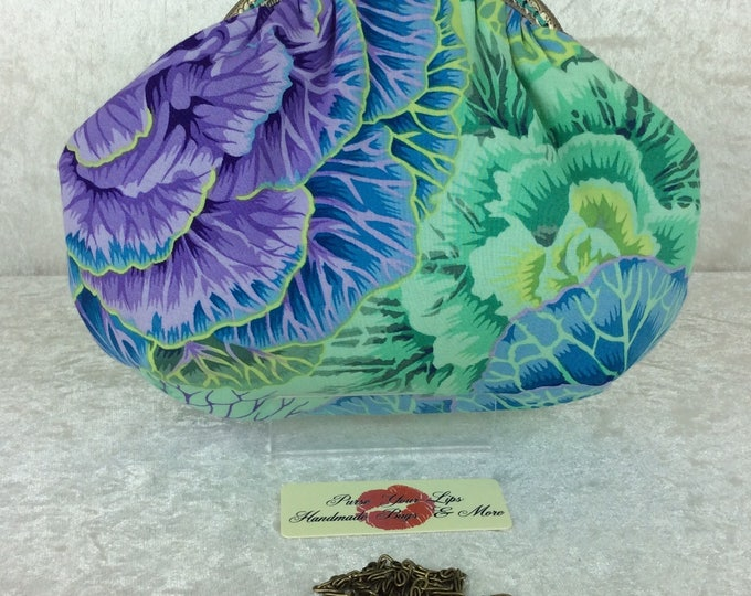 Cabbages small frame handbag purse bag fabric clutch shoulder bag frame purse kiss clasp bag Handmade Kaffe Fassett Philip Jacobs Brassica