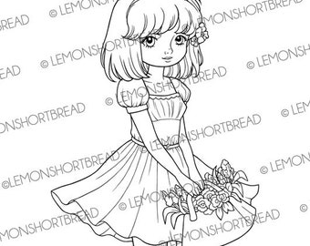 Digital Stamps Basket of Flowers Girl, Digi Download, Coloring Page Book, Floral Spring Summer, Clip Art, Scrapbooking Supplies