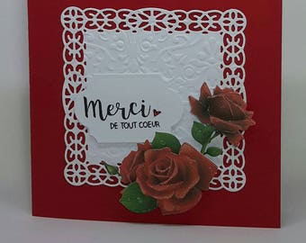 Red roses thanks card