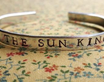 The Sun King Louis XIV Handstamped Aluminium Cuff Bracelet