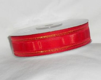 "Red with Gold Ribbon 7/8"" X 25 yards spool"