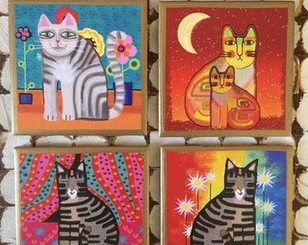 COASTERS!!! Whimsical cat coasters with gold trim