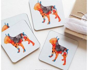 """Coaster Set of 4 """"Frenchie"""" by Iveta Abolina, French Bulldog Cork Coasters, Dog Coaster Set, Floral Coasters I95"""