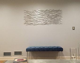 Metal Wall Art. Sculpture.  Abstract. Wall Sculpture. Metallic. Home Decor. Aluminum. 60 x 24