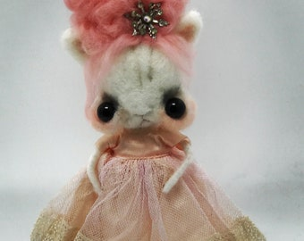 Pinky the pink haired kitty  Original one of a kind art doll