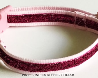 Pink Collar with Glitter Ribbon for Girl Dog or Cat