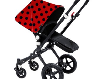 "Bugaboo Cameleon, Bee, Donkey, Frog Custom canopy hood cover ""Polka dot red and navy"" by Stroll N Style"