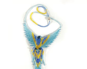 Phoenix Beaded Necklace - Blue Gold - Beaded Phoenix Pendant - 3D Bead Firebird - Thunderbird Necklace - Phoenix Jewelry - Phoenix Rising