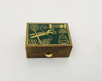 Vintage Miniature Trinket Sewing Box.