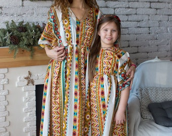 Matching Kaftans - Tropical Mommy Baby Matching Kaftan dresses - Matching Outfit, Mom and Me, Matching dresses, Mini Me