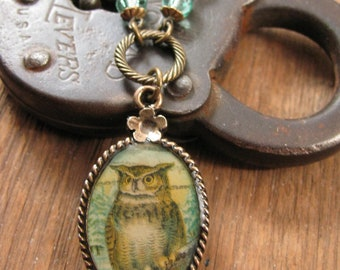 Owl Necklace - Postage Stamp Jewelry - Resin Jewelry - Brass and Aqua - Horned Owl Oval Pendant Necklace