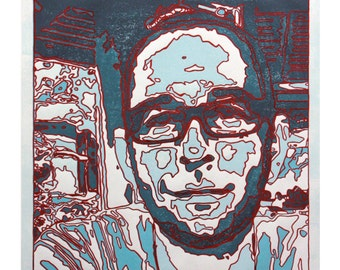 Man Met Bril I (Man with Glasses I) - Portrait of man with glasses (aquamarine shades of blue and red, white paper, hand-made lino print)