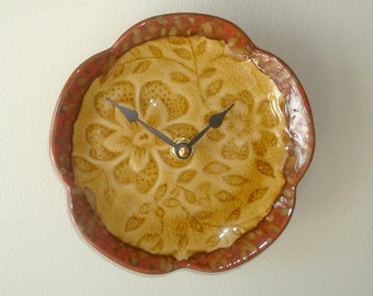 6 Inch Small Floral Wall Clock in Rust and Gold Kitchen Clock Ceramic Plate Clock Earthy Home Decor - 2525