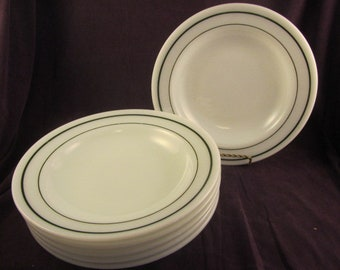 Fire King Anchor Hocking Saratoga Green Stripe Soup Bowls - Set of 6