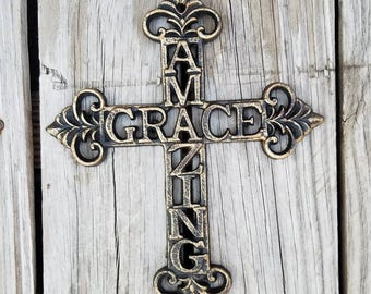 Cross, wall cross, iron cross, ornate cross, unique cross, iron crosses,  amazing grace, shabby chic cross, rustic cross, iron anniversary