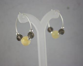 earrings, jade earrings, yellow jade earrings, hoop earrings, yellow jade, crystal earrings,