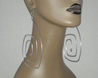 Uniquely Shaped Silver Color Wire Earrings, Large Earrings, Women's Earrings, Fashion Earrings, Big Earrings.