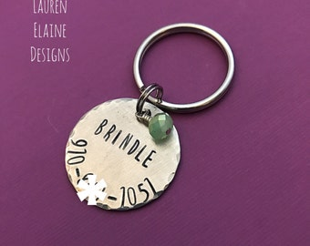 Custom Hand Stamped Aluminum Pet Tag With Jewel