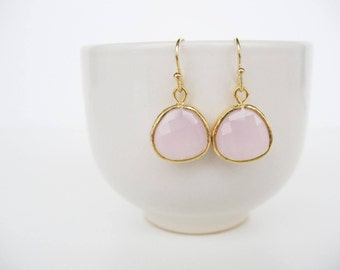 Ice pink earrings Pink bridesmaids drop earrings Blush glass earrings Gold crystal earrings Blush bridesmaids earrings, simple drop earring
