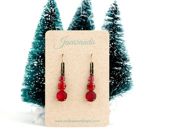 Mothers Day Gift - Gift For Women - Red Drop Earrings - Red Jewel Earrings - Vibrant Red Jewel Earrings - Gift For Woman - Gift For Her
