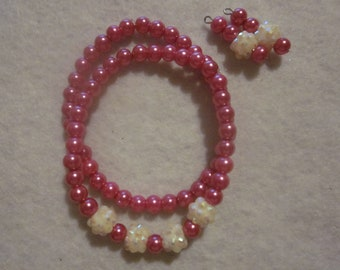Hot Pink and Cream Bracelet and Earring Set