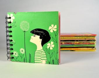 Journal Notebook Sketchbook Vintage Recycled Repurposed Vintage Boy Flower Spring