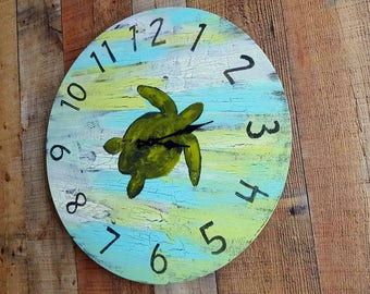Large Wall Clock - Beach House Decor - Sea Turtle - Home Decor - Rustic Decor - Farmhouse Decor - Beach Colors - Round Wall Clock
