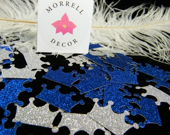 Crown Party Confetti Royal Blue & Silver Glitter/ Royal Prince  Decoration / Graduation / Little Prince Party Baby Shower/ Confetti / 100 ct