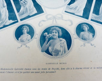 Vintage Antique 1900 French risque adorable women  Cocotte  /recto/verso photography /Belle epoque magazine page